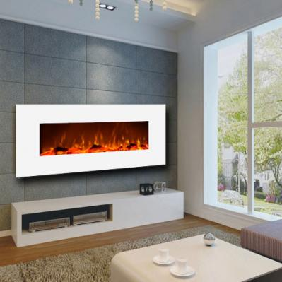 Ivory White Wall-Mounted Fireplace