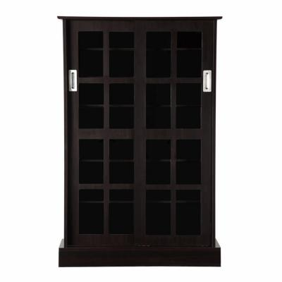 Windowpane Sliding Glass Door Multimedia Cabinet In Espresso