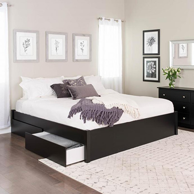 King Select 4-Post Platform Bed with 2 Drawers, Black