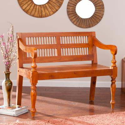 Solid Mahogany Turned-Leg Bench - Natural