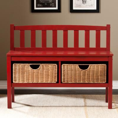 Bench w/ Storage Baskets - Red