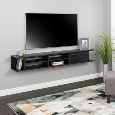 Wall Mounted Media Console with Door, Black
