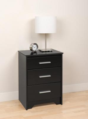 Coal Harbor Tall 3-Drawer Night Stand - Black