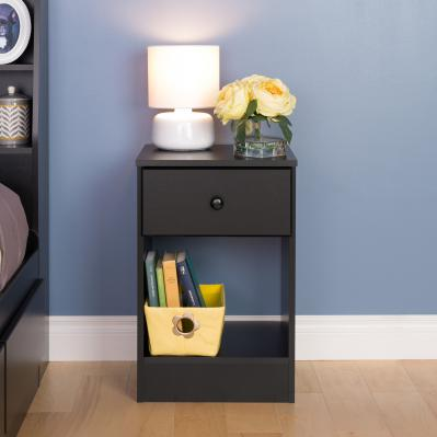 Astrid Tall 1-Drawer Night Stand, Black