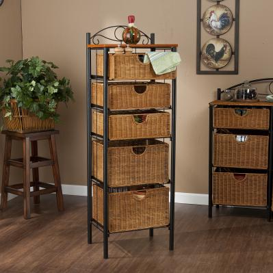 5-DRWR WICKER STORAGE UNIT