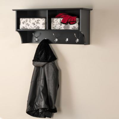 Black 36-inch Wide Hanging Entryway Shelf