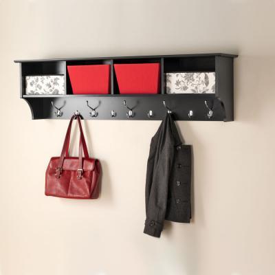 Black 60-inch Wide Hanging Entryway Shelf