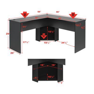 L-shaped Desk, Black