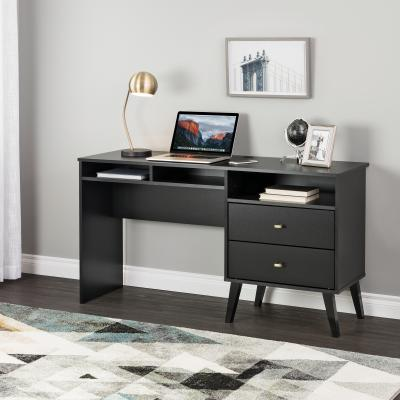 Milo Desk with Side Storage and 2 Drawers, Black
