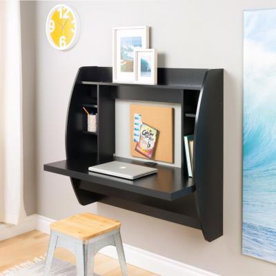 Black Floating Desk with Storage