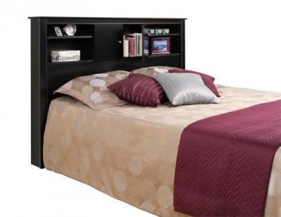 Black Full/Queen Kallisto Bookcase Headboard with Doors
