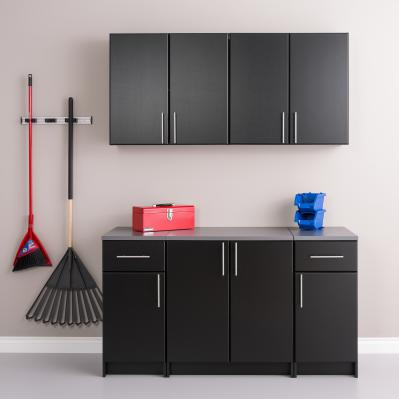 Elite 64 in. W x 89 in. H x 24 in. D Storage Cabinet Set B - Black - 5 Piece