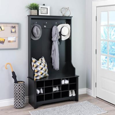 Hall Tree with Shoe Storage - Black