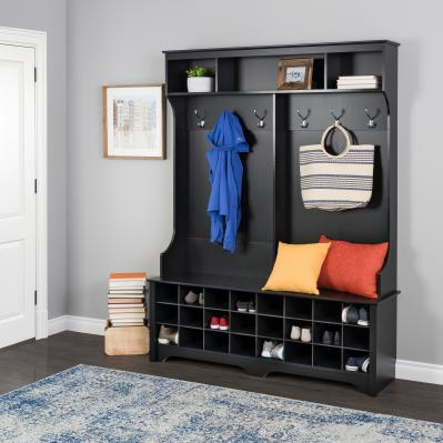 Prepac 60 inch Wide Hall Tree with 24 Shoe Cubbies, Black