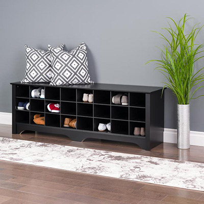 24 pair Shoe Storage Cubby Bench, Black