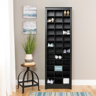Space-Saving Shoe Storage Cabinet, Black