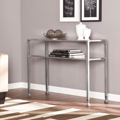 JAYMES METAL/GLASS CONSOLE TABLE - SILVER