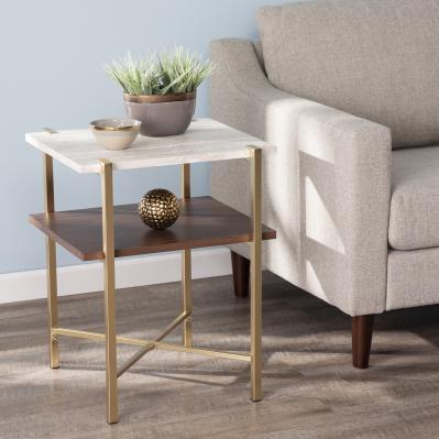 Ardmillan Square Faux Marble End Table w/ Storage