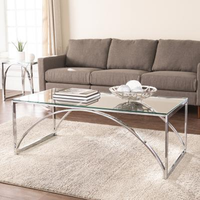 Stevenly Glass-Top Cocktail Table