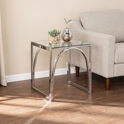 Stevenly Square Glass-Top End Table