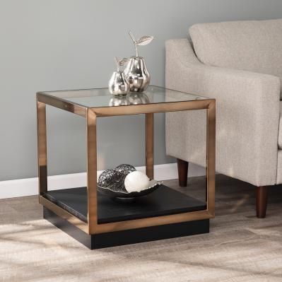 Lexina Glass-Top End Table