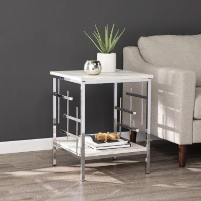 Freston Faux Marble End Table