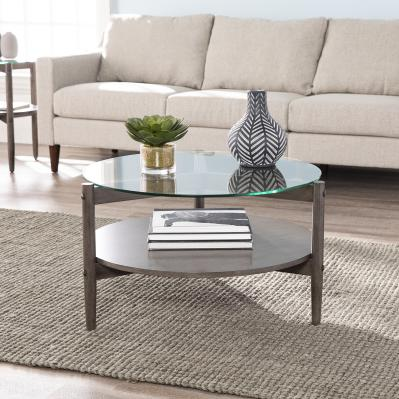 Glaslyn Round Glass-Top Cocktail Table