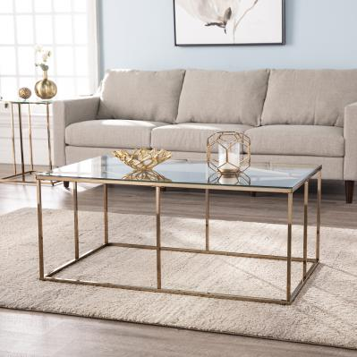 Nicholance Contemporary Glass-Top Cocktail Table