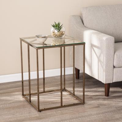 Nicholance Contemporary End Table w/ Glass Top