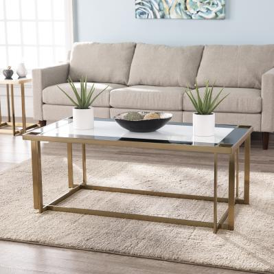 Magdalere Contemporary Mirrored Cocktail Table