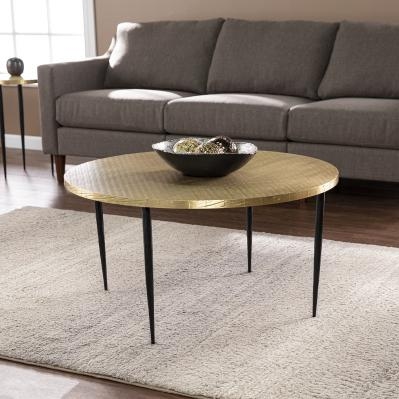 Judmont Round Cocktail Table w/ Embossed Top
