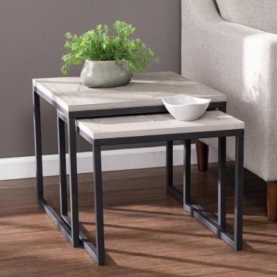 Sharnbrook Reclaimed Wood Nesting End Tables - 2pc Set