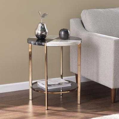 Cortinada Round Faux Marble End Table