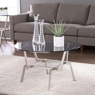 Kirben Round Glass-Top Cocktail Table