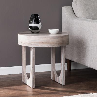 Chadkirk Round Faux Marble End Table