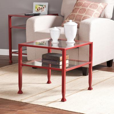 Metal/Glass Bunching Cocktail Table - Red