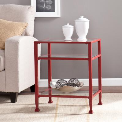 Metal/Glass End Table - Red