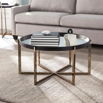 Marlieva Round Cocktail Table w/ Mirrored Top