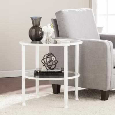 Jaymes Metal/Glass Round End Table - White