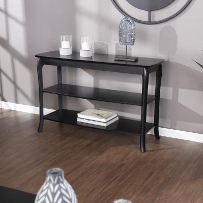 Ava Console Table w/Shelves - Black