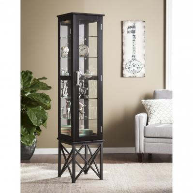 Anthony Lighted Curio Cabinet - Satin Black