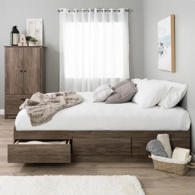 King Mate's Platform Storage Bed with 6 Drawers, Drifted Gray