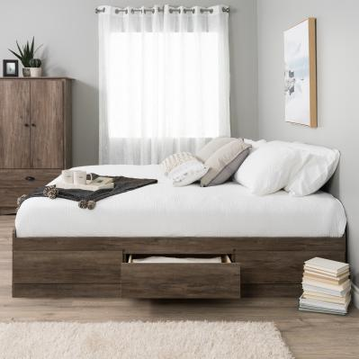 Queen Mate's Platform Storage Bed with 6 Drawers, Drifted Gray