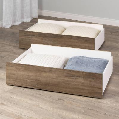 Select Drifted Gray Queen/King Storage Drawers  Set of 2 on Wheels