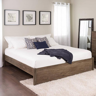 King Select 4-Post Platform Bed, Drifted Gray