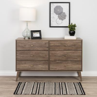 Milo Mid Century Modern  6-drawer Dresser, Drifted Gray