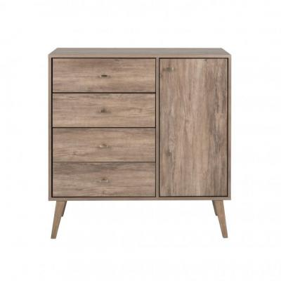 Milo Mid Century Modern 4-Drawer Chest with Door, Drifted Gray