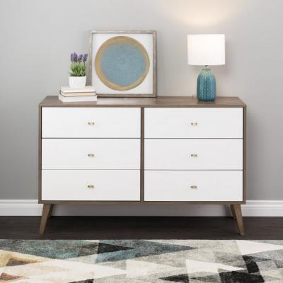 Milo Mid Century Modern 6-Drawer Dresser, Drifted Gray and White