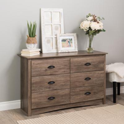Salt Spring 6-Drawer Drifted Gray Condo Dresser 29 in. H x 48 in. W x 16 in. D