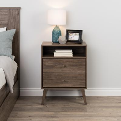 Milo Mid Century Modern  2-drawer Tall Nightstand with Open Shelf, Drifted Gray